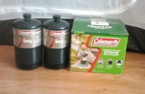 Coleman camping stove with 2 propane canisters - as new!