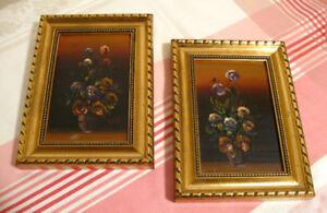 Duo de cadres peintures pots de fleurs