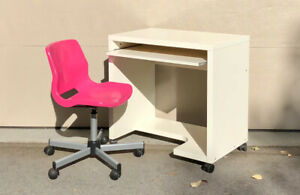 Ikea Rolling Computer Desk and Chair-Pink