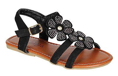 Kids Rhinestone Flower Girls Summer Sandals  size 12-4 BUY 1 GET 1 flipflop FREE](Flower Girls Shoes)
