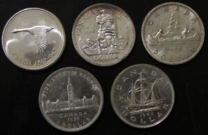 Nice Group of 5 AU-UNC Canadian Silver Dollars 1939-1967
