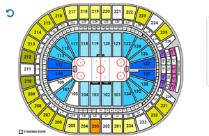 Caps vs Oilers October 28 centre ice seats section 203 row 6