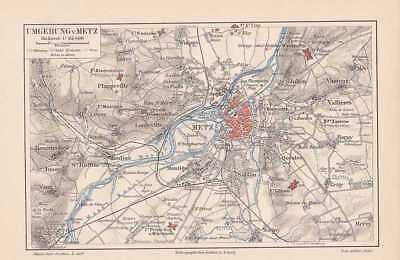 Metz Moselle Woippy Plappeville Sablon Longeville Quelen PLAN von 1889 Festungen