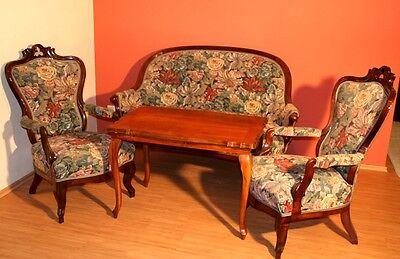 Originale Biedermeier Sitzgruppe Garnitur Bank Sesseln aus 1870 Backhausen Stoff