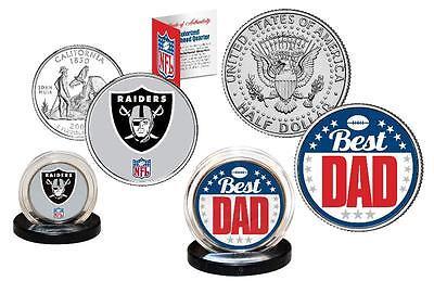 Best Dad - OAKLAND RAIDERS 2-Coin Set Quarter and JFK Half Dollar NFL LICENSED ()