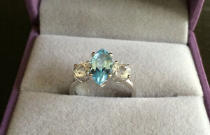 Silver Blue Topaz Ring London Ontario image 1