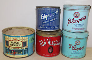 Tobacco Cigarette Tins Players Bond Old Tin Can - $20 for All 5