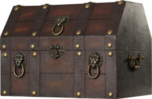 Antique Pirate Treasure Chest w/ Lion Rings - NEW - ($170 Value)