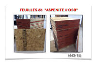 """(443-15)  FEUILLES DE """"ASPENITE"""" (1/2 OSB) 2.99$ /ch."""