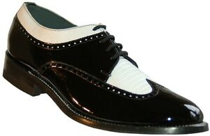mens black and white formal spectators wingtip shoes