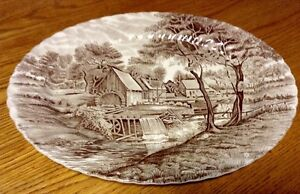 "VINTAGE ASSIETTE OVALE JOHNSON BROTHERS ""WATERMILL"" IRONSTONE"