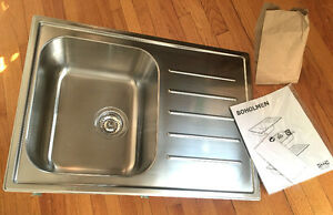IKEA BOHOLMEN 1 bowl inset sink with drainer, stainless steel