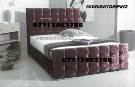 NEW 4'6 CRUSHED VELVET CUBE DESIGN DIAMANTE BED FRAME
