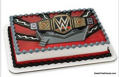 Wwe Cake Toppers (WWE Wrestling Cake Decoration Party Supplies TOPPER KIT Favor WWF Ring Belt)