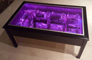Unique Circuit Board Coffee Table with LED Lighting (REDUCED)