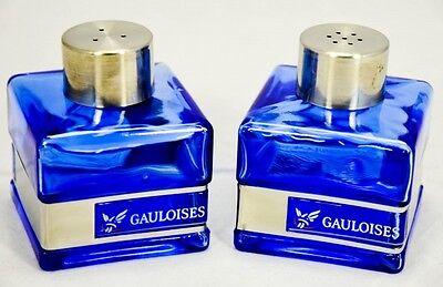 Gauloises Tabak Salz und Pfefferstreuer Set, Glasware, Edelstahlabsetzung eckig