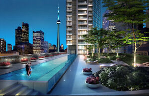 Yonge and Front, brand new condo room with beautiful south view.