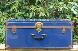 """Vintage blue camping trunk, """"Atlas Trunk & Luggage"""" Montreal Can"""
