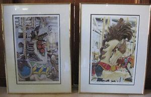 Framed Carousel Horses by Cesar Santander (1990)