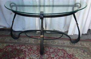 A vintage heavy-duty Console Table, thick glass top/metal base