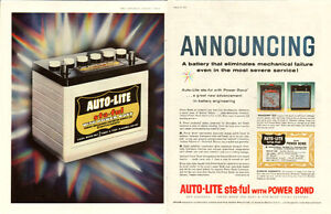 1958 2-page (21 x 13 ½ ) print ad for Auto-Lite Batteries