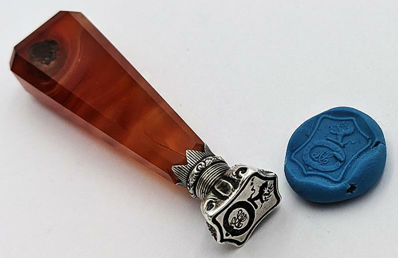 VICTORIAN AGATE & SILVER FAMILY CREST LETTER SEAL 19TH CENTURY