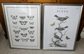 Large vintage style prints in frame set of 2
