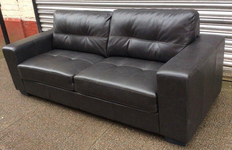 Boxy Black Leather Sofa