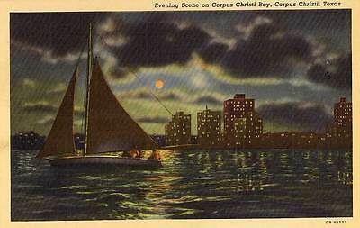 1940 CORPUS CHRISTI TX Sailboat at Night on Bay postcard