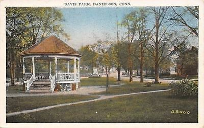 Danielson Connecticut Davis Park Gazebo Monument Street Past Homes 1930 Postcard