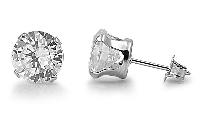 Silver Stud Earrings Round Cut Clear Cubic Zirconia 925 Sterling Assorted Sizes