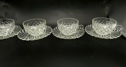 4 VTG Anchor Hocking Waterford Waffle Diamond Depression Glass Cup & Saucer Sets