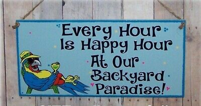 HAPPY HOUR BACKYARD PARADISE SIGN TROPICAL SUMMER TIKI  POOL PARTY BAR  DECOR (Happy Sign)