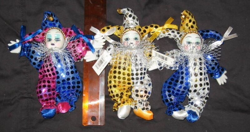 1 Jester Clown Doll 8 Inch Sequin Buyers Choice Mardi Gras