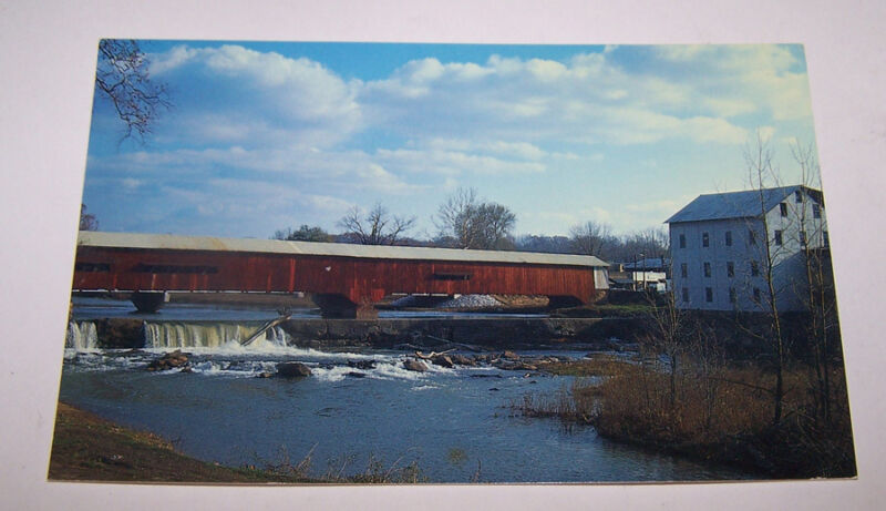 Vintage BRIDGETON Covered Bridge Postcard PARKE COUNTY INDIANA Weise Mill