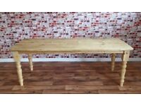 Rustic Farmhouse Antique Pine Reclaimed Wood Timber Dining Kitchen Table - Turned Legs