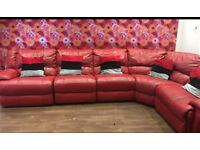 Red Recliner Corner Leather Sofas