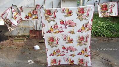 Vintage Red Vegetables and Kitchen Printed Tablecloth with Six Matching Napkins