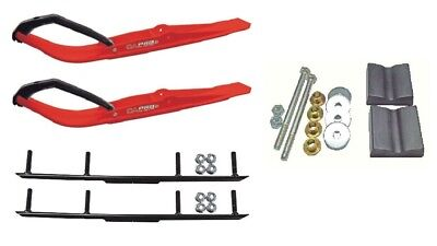 """C&A Pro Red Razor Snowmobile Skis w/ 4"""" Round Bars Complete Kit"""