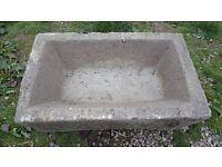 old antique granite trough planter