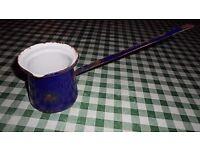 old Enamel butter milk dipper saucer ladle