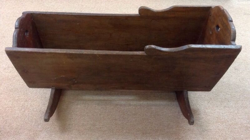 Antique Wooden Real Baby Cradle From 1880