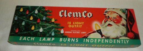 CLEMCO SANTA LITES 15 CHRISTMAS LIGHTS CAT. NO.715 W/C-9 COLORED BULBS WORKING