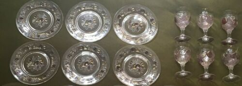 6 Westmoreland DELLA ROBBIA FLASHED Pastel Dinner Plates, 6 Wine/Water Goblets
