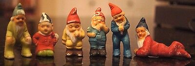 """6 Vintage Ceramic Miniature Gnomes Japan Each Different 2"""" - 2 5/8"""" tall"""