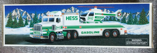VINTAGE 1995 HESS TOY TRUCK AND HELICOPTER NEW