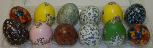 Lot of 12 Vintage Decorated Painted Decoupage Easter Eggs Real Hollowed Shells
