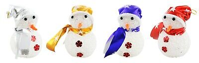 4-Piece Set of 5 inch Christmas Tree Ornament, Light-UP Assorted Snowmen