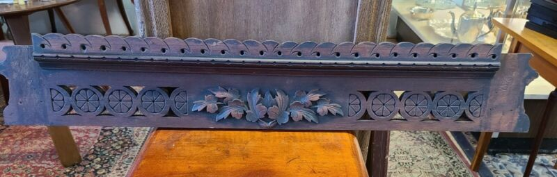 "Architectural Salvage Vintage Mahogany Pediment Header-36 1/2"" long"