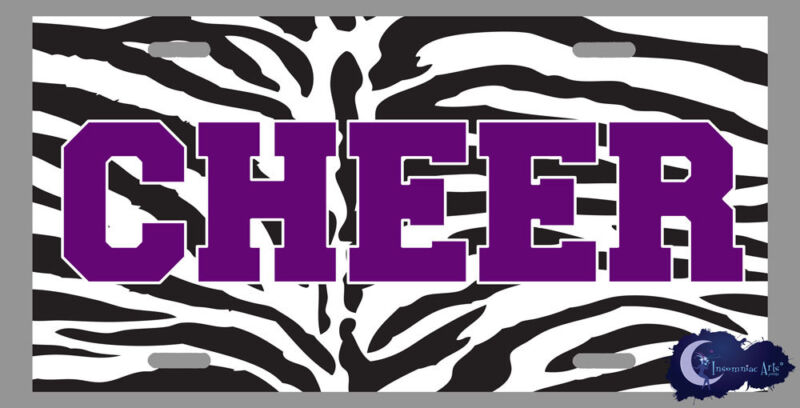 Zebra Print with Purple Cheer - Cheerleading, Cheerleader License Plate